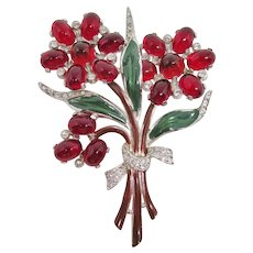 Large & Lovely Red Floral Cabochon Brooch