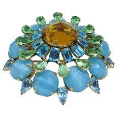 Fab Turquoise Rhinestone Schreiner Brooch