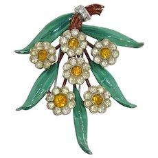 Charming 1940s Enameled Flower Fur Clip