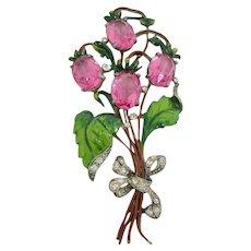 Fabulous Staret Enameled Flower Brooch