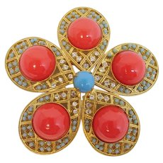 Hattie Carnegie Faux Coral and Turquoise Brooch