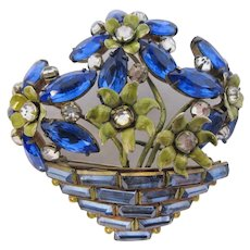 Sandor Sterling Silver & Blue Rhinestone Flower Baskets