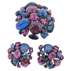 Schreiner Blue & Purple Brooch & Earrings Set