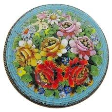 Delightful Italian 800 Silver Fine Mosaic Brooch