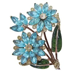 CoroCraft Huge Blue Rhinestone & Enamel Floral Brooch
