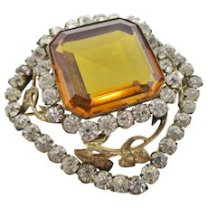 Large Citrine Glass Faceted Brooch