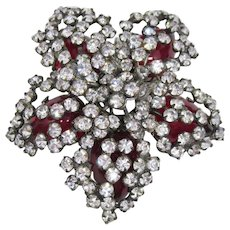 DImensional Schreiner Brooch with Red Rhinestones