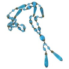 Gorgeous Czech Turquoise Glass Necklace