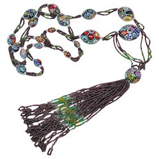 Magnificent Millefiore Beaded 1920s Flapper Necklace