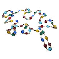 Glass Bezel Set Multi-Colored Necklace