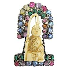 Hobe Asian Figural Brooch