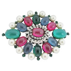 Magnificent Schreiner Cabochon and Glass Pearl Brooch