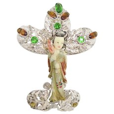 Huge and Gorgeous Hobe Asian Figural Brooch