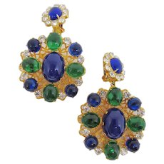 Huge Gorgeous K.J.L. Dangling Cabochon Earrings