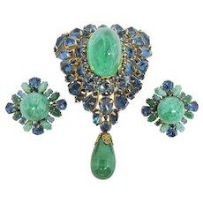 Blue & Green Schreiner Brooch & Earring Set