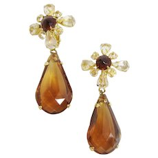 Lovely Amber Lucite Schreiner Dangling Earrings