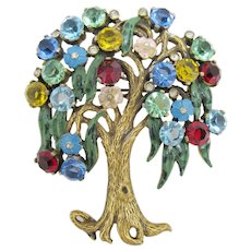 Unique Rhinestone Tree Brooch