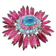 Delightful Pink & Blue Schreiner Ruffle Pin