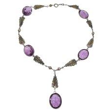 Beautiful Czech Glass Amethyst Leaf Necklace