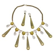 Incredible Joseff Spiral Rhinestone Dangle Necklace & Earrings Set