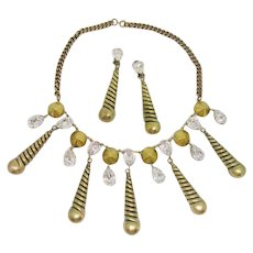 Incredible Joseff Spiral Rhinestone Dangle Necklace & Earrings Set