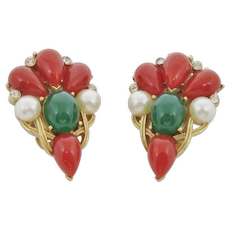 Classic Trifari Coral & Green Glass Cabochon Earrings
