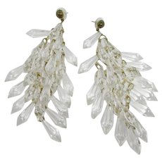 """Huge Clear Lucite Tiered """"Crystal"""" Earrings"""