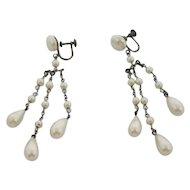 Lovely 1930s Long Dangling Faux Pearl Earrings