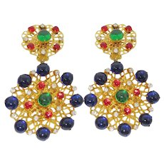 Magnificent Huge K.J.L. Jeweltone Cabochon Earrings