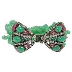 K.J.L. Glass Bead & Cabochon Bracelet