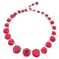 Striking Ruby Red Glass Crystal Necklace