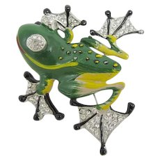 Rare Chanel Novelty Company Enameled Frog Brooch