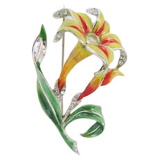 Boucher 1941 Enameled Lily Brooch
