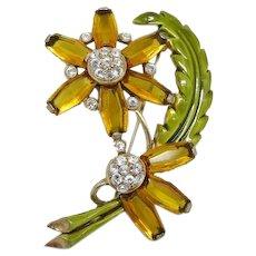 Gorgeous Topaz Glass Flower Brooch