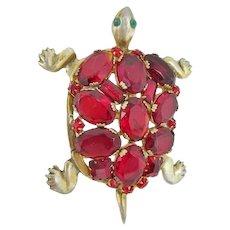 Large Sterling Red Rhinestone Turtle Brooch