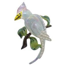 Blue Enameled Bird Brooch