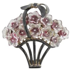 Gorgeous Dimensional Lucite Flower Basket Pin