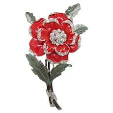 Beautiful Red Enamel Trembler Flower Brooch