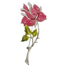 Enchanting Sterling Enamel Rose Brooch