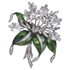 Fabulous Huge Enameled Rhinestone Floral Brooch