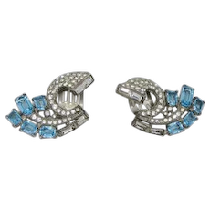 Trifari Alfred Philippe Sterling Clip Earrings