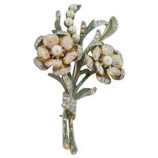 Deja Enameled Faux Pearl Flower Brooch