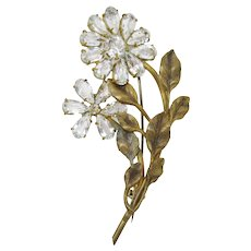 Charming Dimensional Sparkling Flower Pin