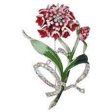 Lovely Red Enameled Dimensional Flower Brooch
