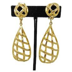 Large Gold Tone Basket Pattern Earrings