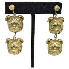 Joseff Whimsical Dangling Bulldog Earrings