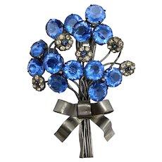 Lovely 1940s Blue Rhinestone Fur Clip
