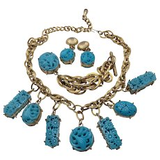 Selini Selro Turquoise Resin Faux Carved Parure
