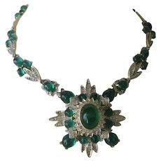 Kenneth Lane Gorgeous Vintage Green Marbled Glass Stones & Rhinestones Bib Necklace