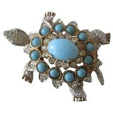 K.J.L. Early Turquoise & Rhinestones Turtle Pin Pendant Book Piece